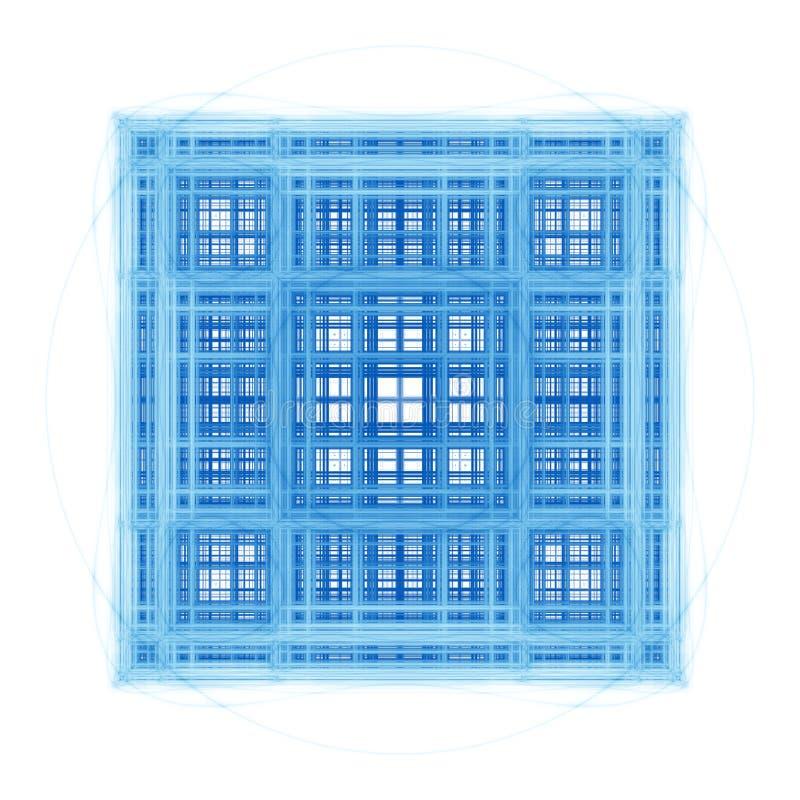 Cubos arquitectónicos del fractal abstracto stock de ilustración