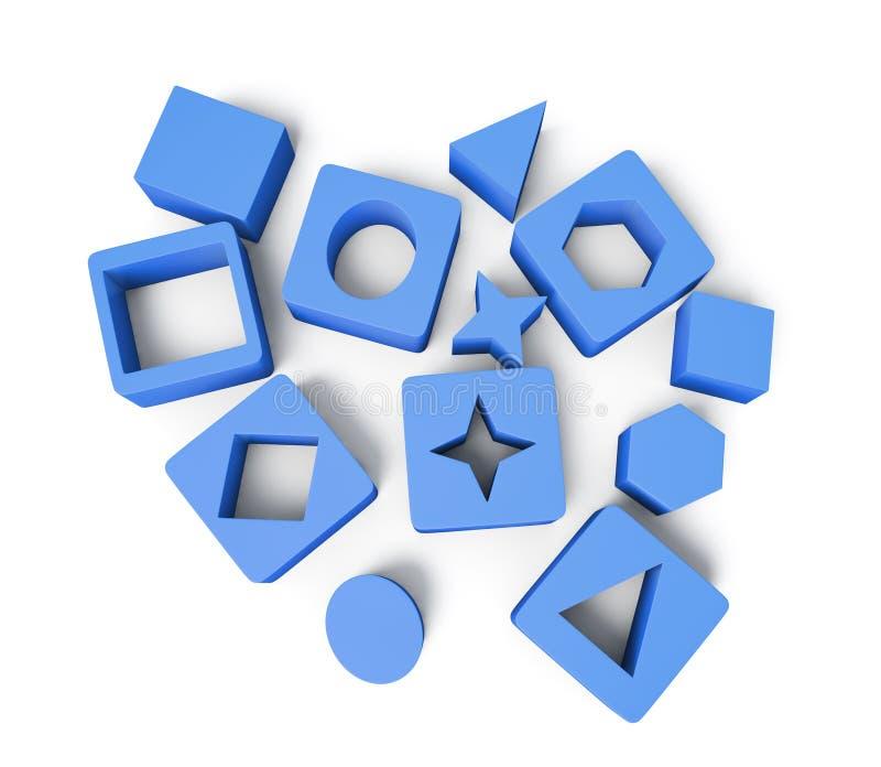 Cubos azuis com formas geométricas no fundo branco 3 ilustração do vetor