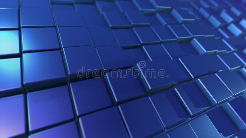 cubos azuis do projeto 3D colocados obliquamente ilustração royalty free