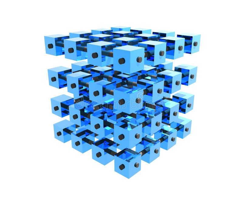 Cubos azules de los datos pegados foto de archivo