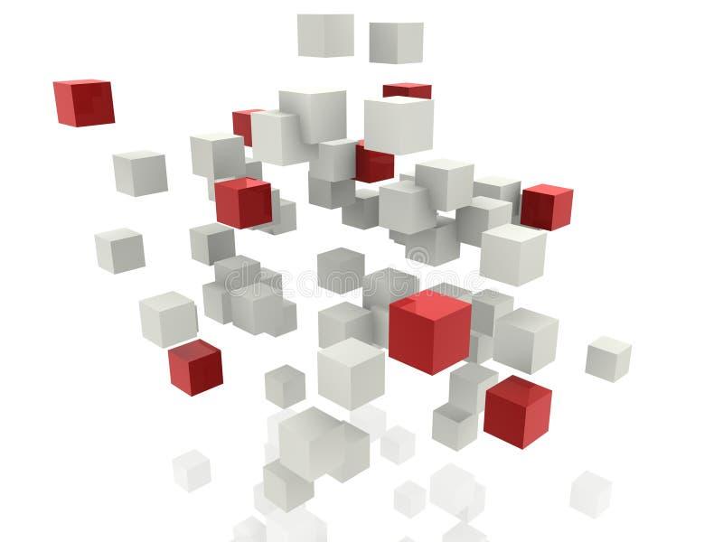 Cubos blancos y rojos ilustración del vector