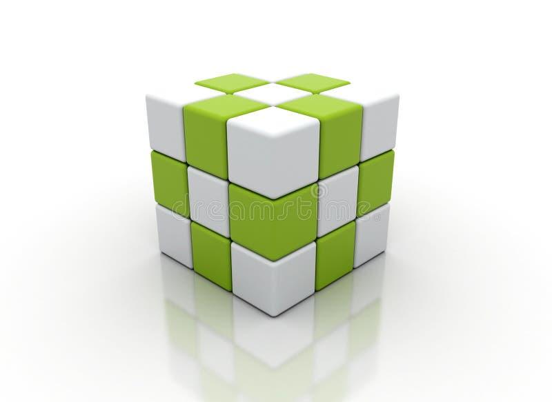 Cubos blancos y verdes abstractos stock de ilustración