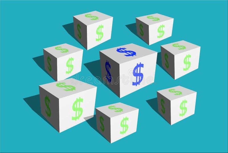 Cubos brancos com um sinal da moeda monetária do dólar americano ilustração stock