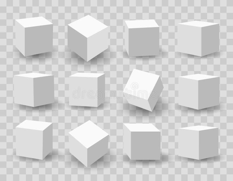 Cubos brancos da modelagem 3d ilustração stock