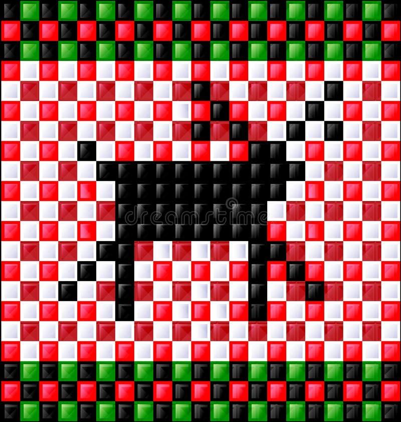 Cubos brillantes del fondo y ciervos negros ilustración del vector