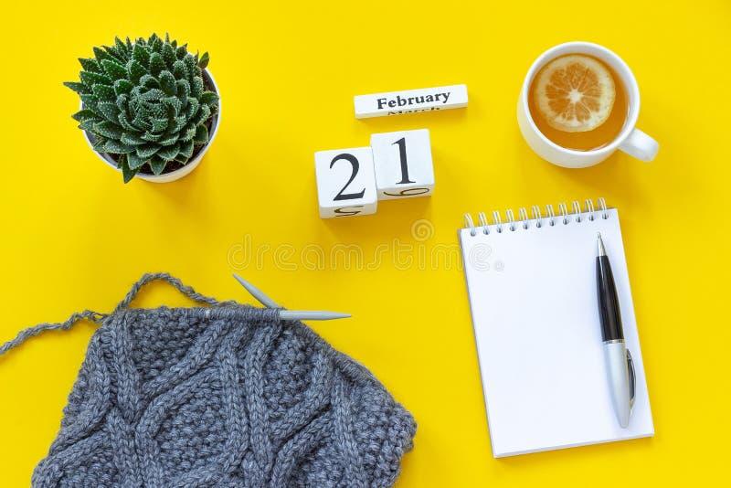 Cubos calendário copo de madeira do 21 de fevereiro do chá com limão, bloco de notas aberto vazio para o texto Potenciômetro com  imagens de stock