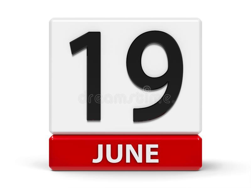 Cubos calendário o 19 de junho ilustração do vetor