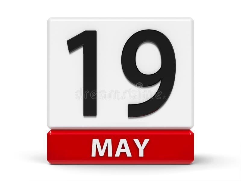 Cubos calendário o 19 de maio ilustração royalty free