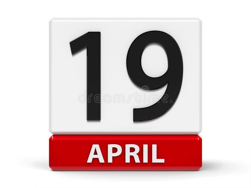 Cubos calendario 19 de abril ilustración del vector