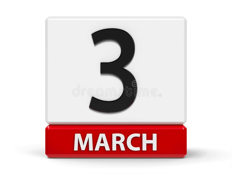Cubos calendario 3 de marzo ilustración del vector
