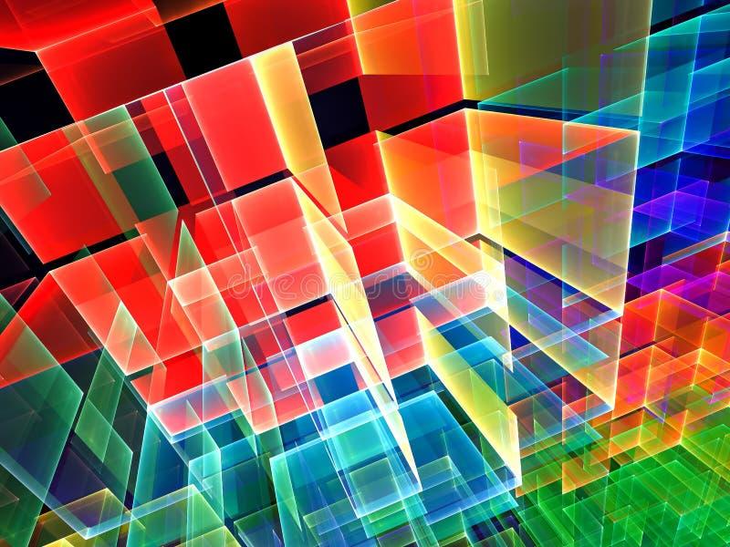 Cubos coloreados - imagen digital generada del extracto stock de ilustración