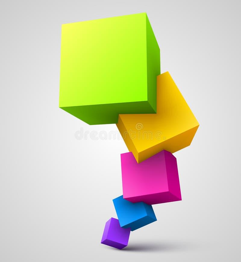 Cubos coloridos 3D ilustração royalty free