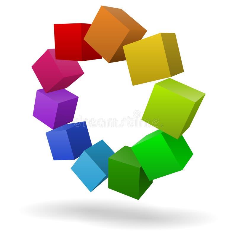 Cubos coloridos 3D ilustração do vetor