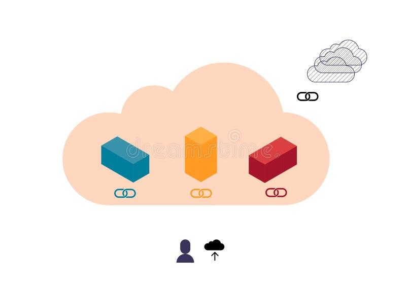 Cubos coloridos abstratos que transferem arquivos pela rede na nuvem ilustração do vetor