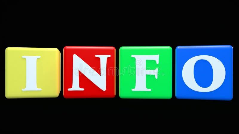 Cubos coloridos com o conceito de INFO em preto ilustração stock