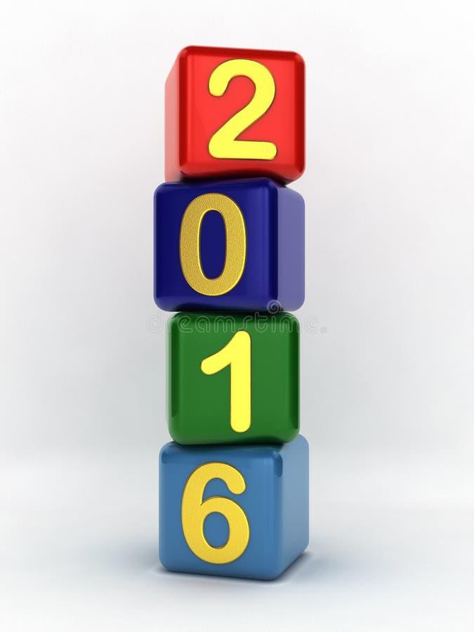 Cubos coloridos 2016 dos números ilustração royalty free