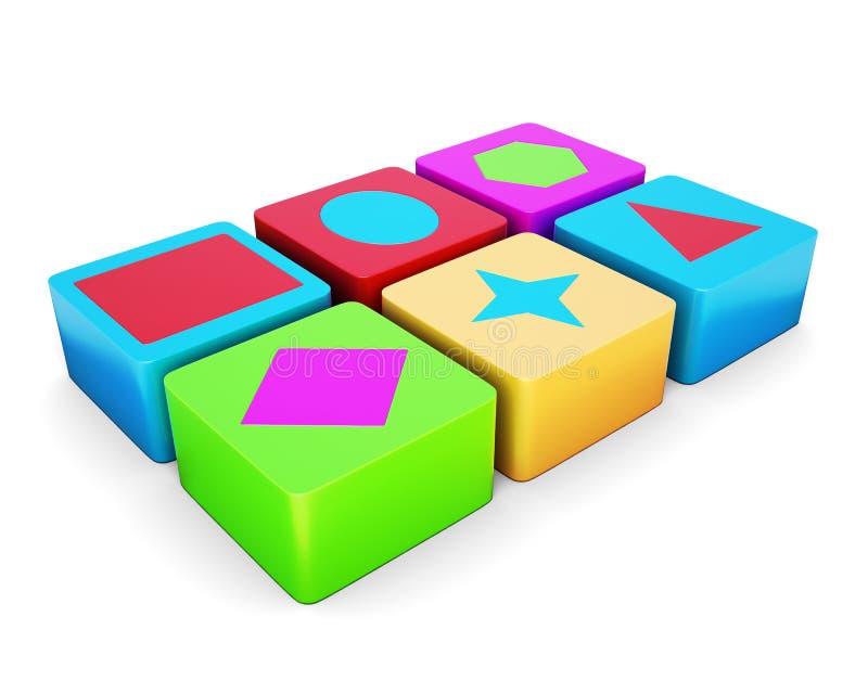 Cubos coloridos educacionais no fundo branco 3d arrancam ilustração stock