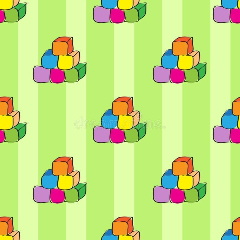 Cubos coloridos no fundo verde, teste padrão sem emenda abstrato ilustração do vetor