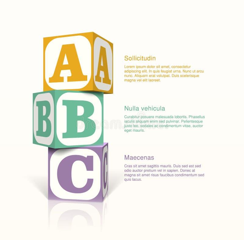 Cubos con lettern ilustración del vector