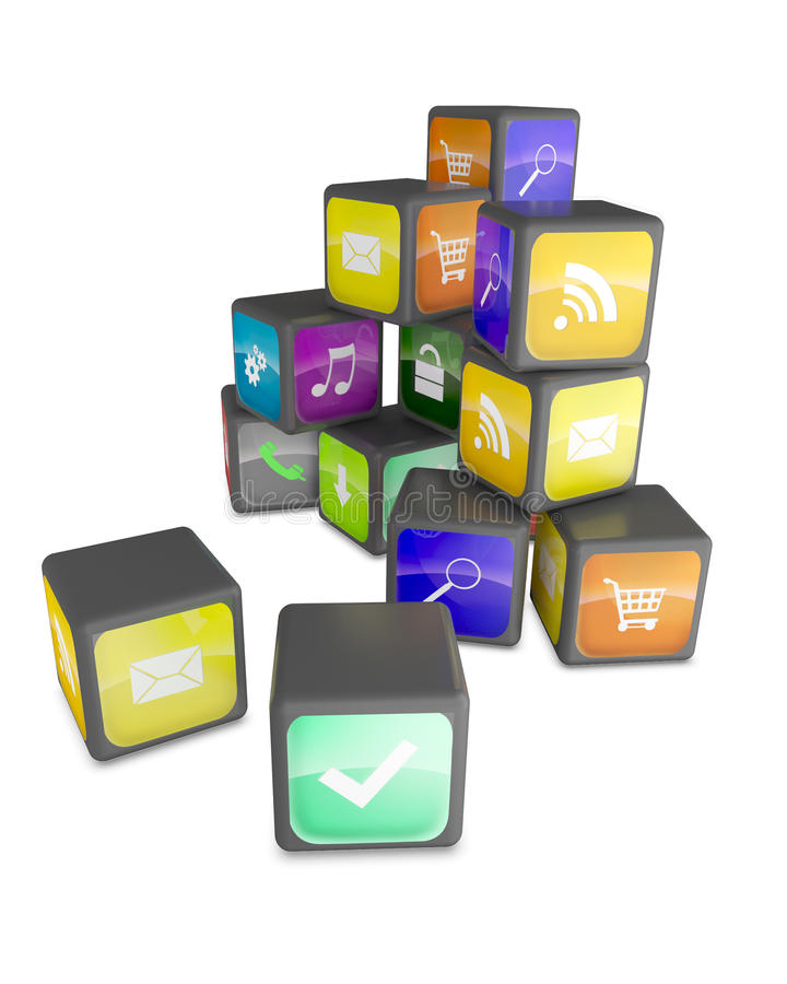 Cubos con los iconos de la aplicación del color ilustración del vector