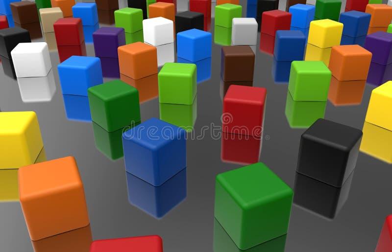 Cubos - conceito da diversidade da cor ilustração royalty free