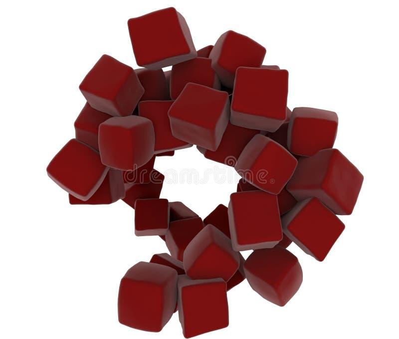 cubos 3D abstratos vermelhos ilustração royalty free