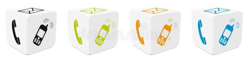 cubos 3D ajustados com ícones traçados coloridos - telefone, email, telefone celular - ilustração do vetor ilustração stock