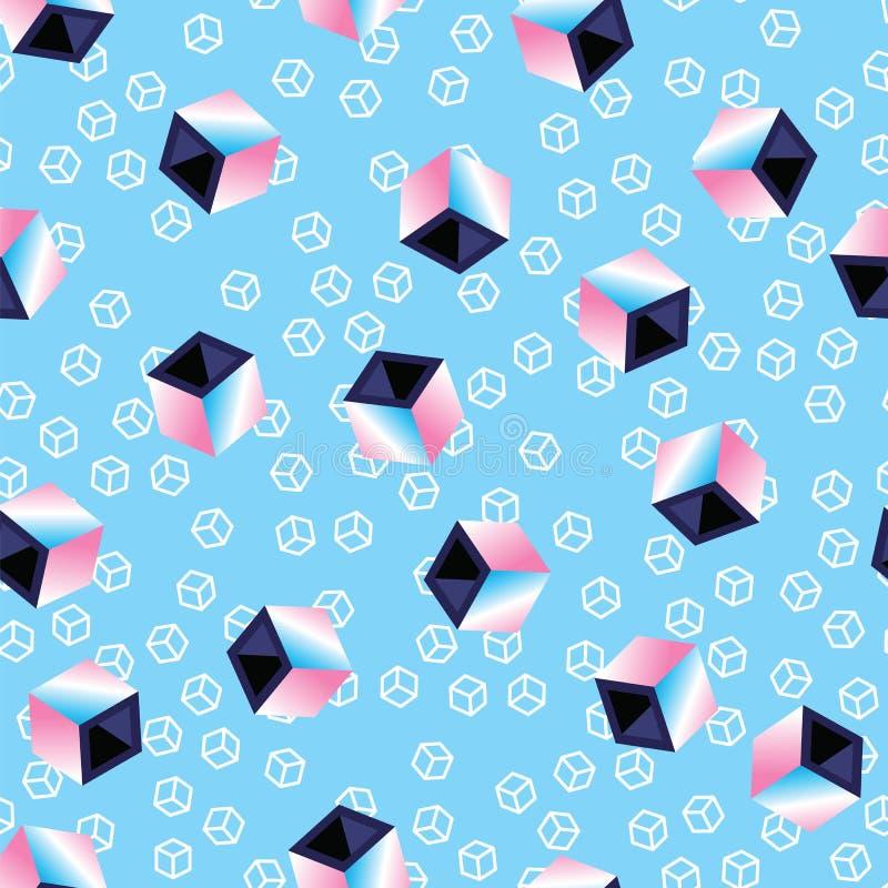 Cubos 3D coloridos no fundo azul do teste padrão Cubos geométricos do teste padrão sem emenda, estilo retro sumário do estilo 80s ilustração do vetor
