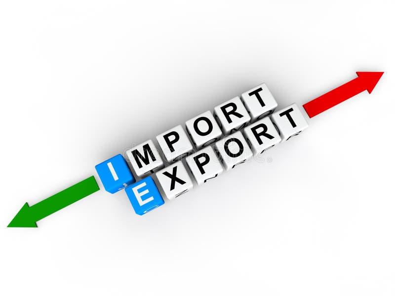 cubos 3d com exportação da importação da palavra ilustração royalty free