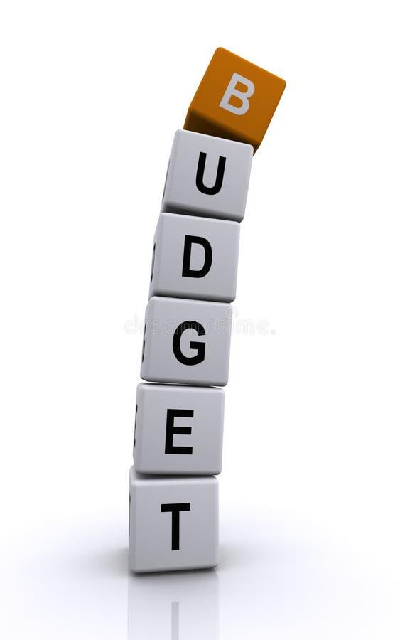 Cubos da letra do orçamento ilustração do vetor