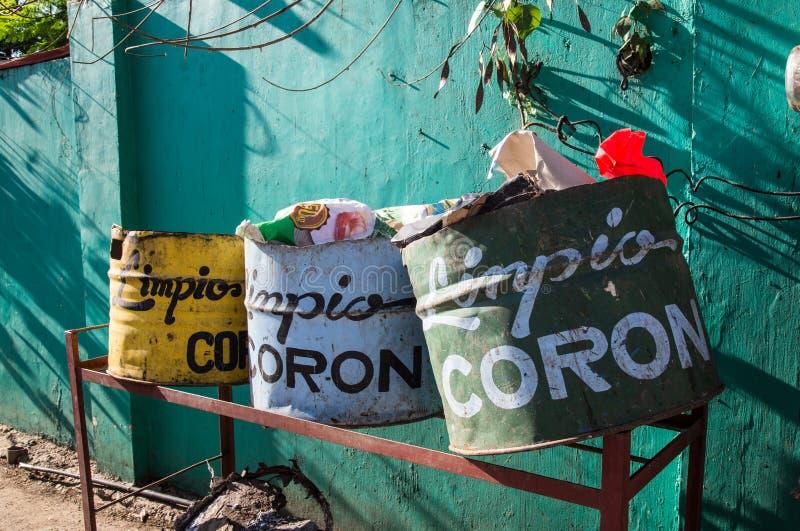 Cubos de basura en Coron Town foto de archivo libre de regalías