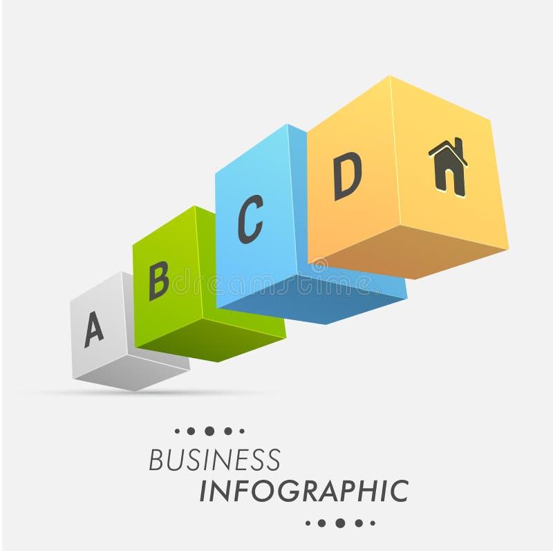 cubos de 3D Infographic para el negocio ilustración del vector