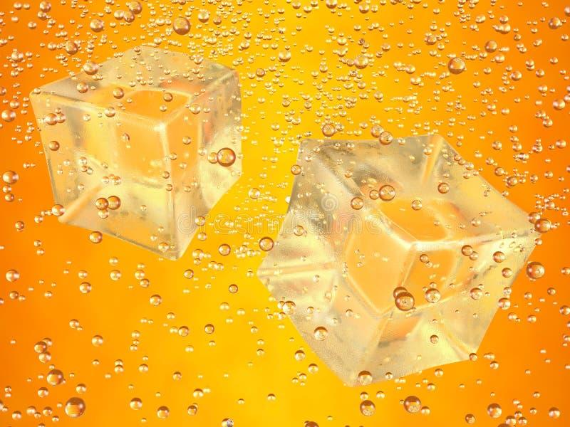 Cubos de gelo alaranjados ilustração do vetor
