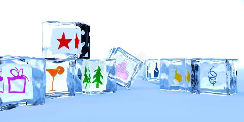 Cubos de gelo em um ano novo feliz foto de stock royalty free