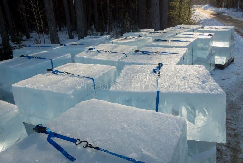 Cubos de gelo gigantes empilhados para esculpir do gelo fotos de stock