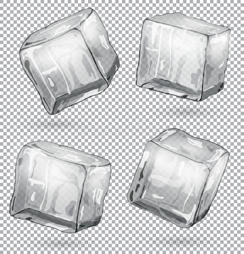 Cubos de gelo transparentes, grupo de 4 partes ilustração do vetor