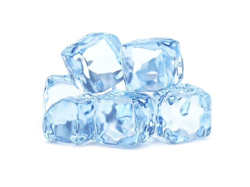 Cubos de hielo aislados en el fondo blanco libre illustration