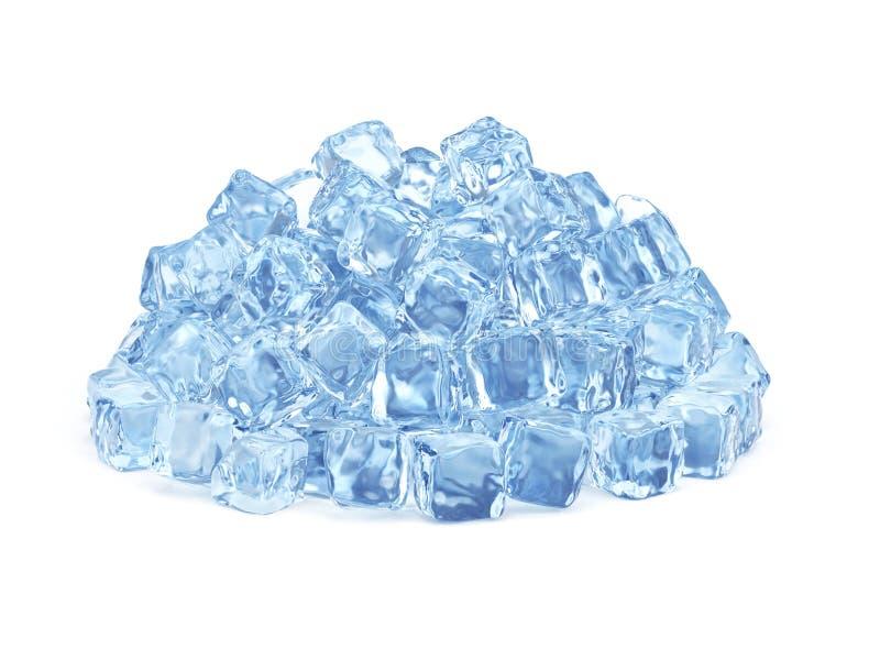 Cubos de hielo aislados en el fondo blanco fotos de archivo