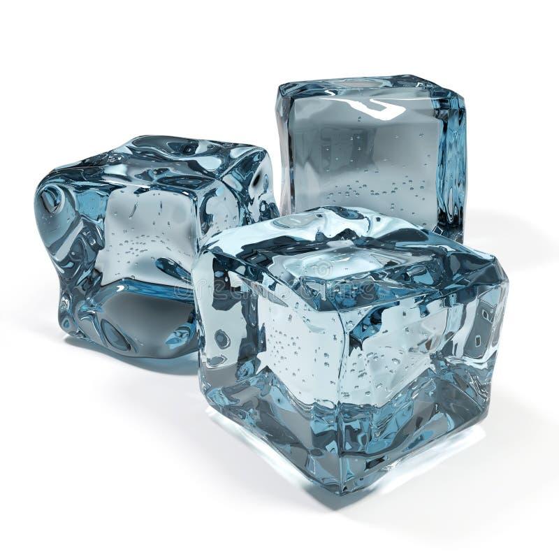 Cubos de hielo aislados en el fondo blanco stock de ilustración