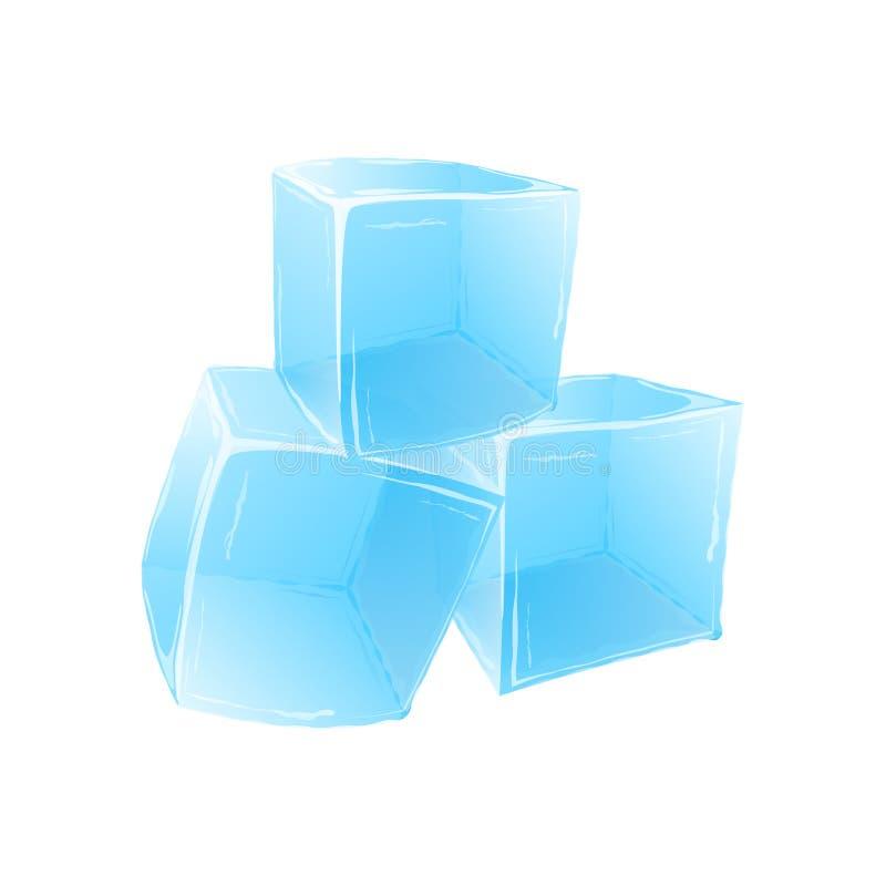 Cubos de hielo aislados en el fondo blanco Ilustración del vector stock de ilustración
