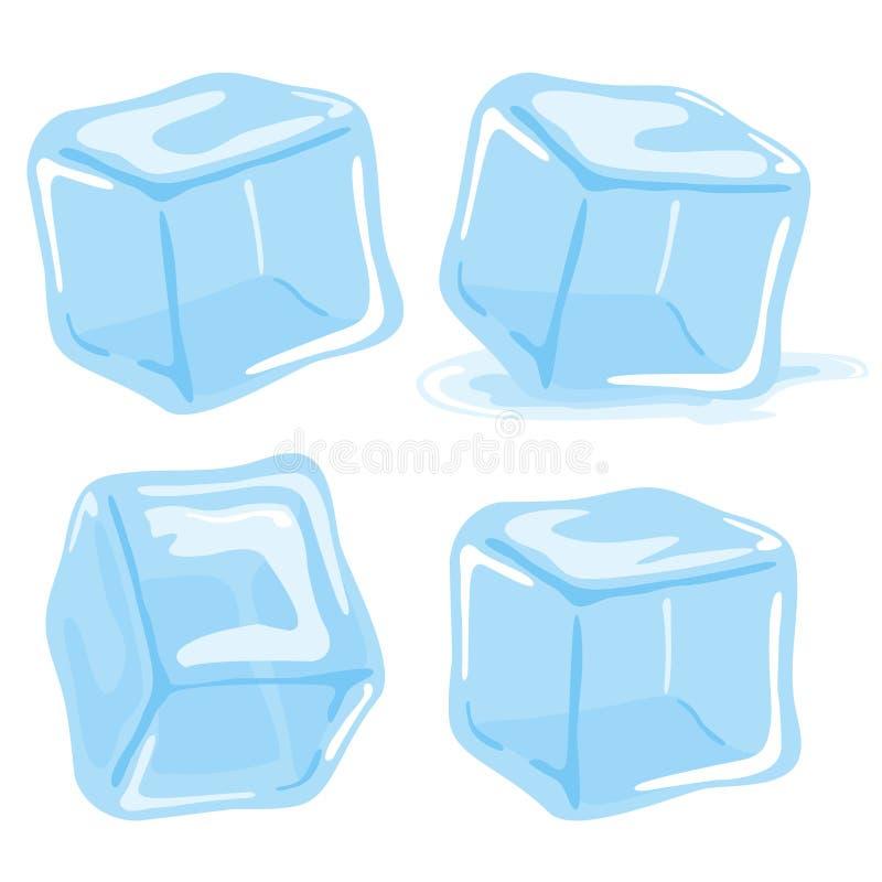 Cubos de hielo de fusión stock de ilustración