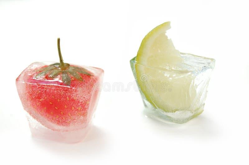 Cubos de hielo de la fruta imágenes de archivo libres de regalías