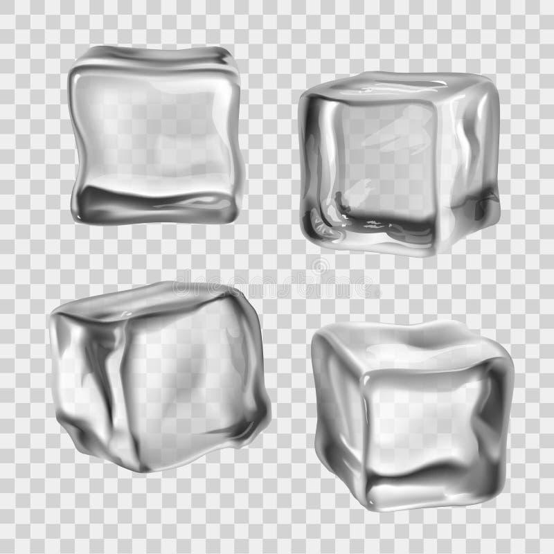 Cubos de hielo transparentes stock de ilustración