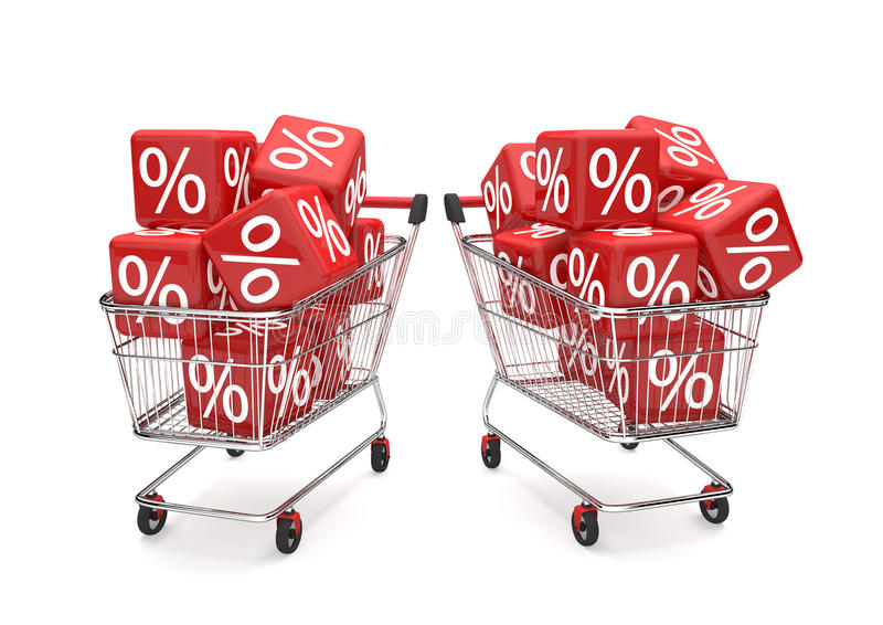 Cubos de la venta de los carros de la compra ilustración del vector