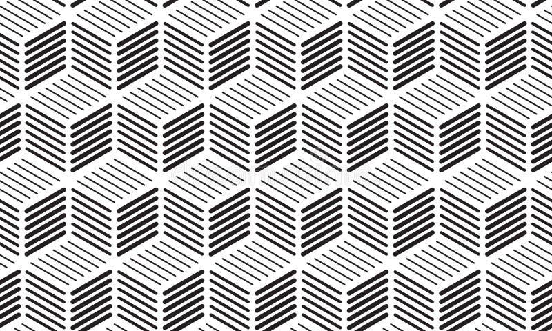 Cubos de las líneas fondo inconsútil ilustración del vector