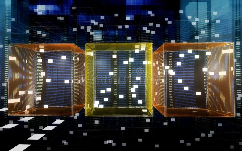 Cubos de los datos en el Cyberspace stock de ilustración