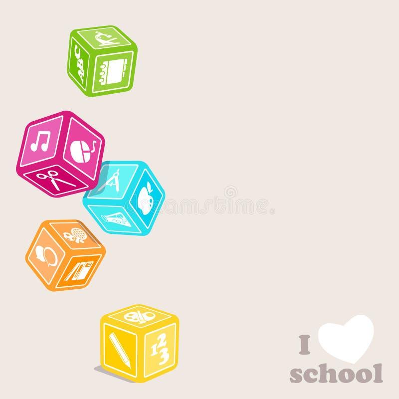 Cubos de los temas ilustración del vector