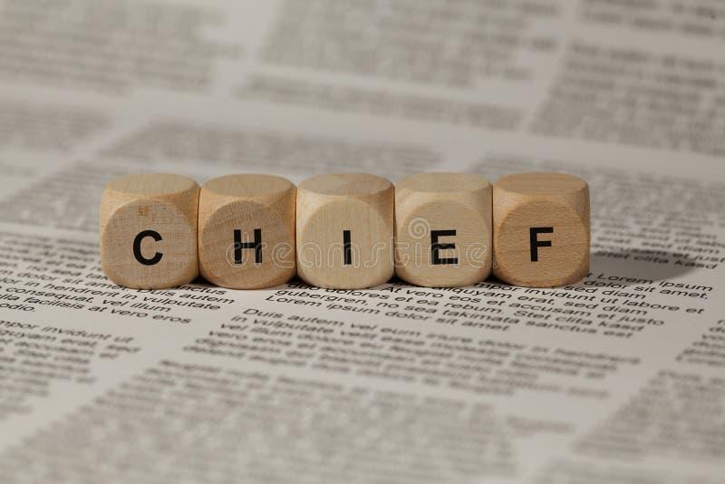 Cubos de madeira com letras o chefe da palavra é indicado, ilustração abstrata foto de stock royalty free