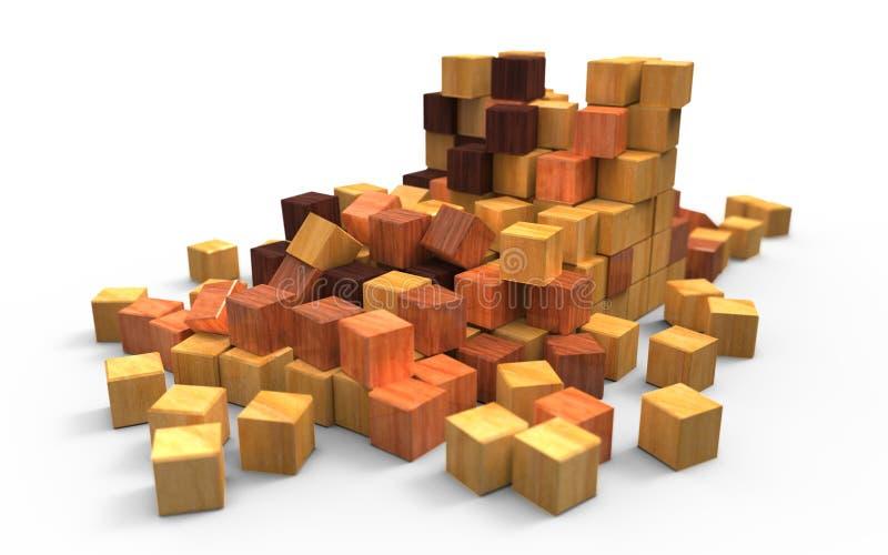 Cubos de madeira dispersados ilustração do vetor