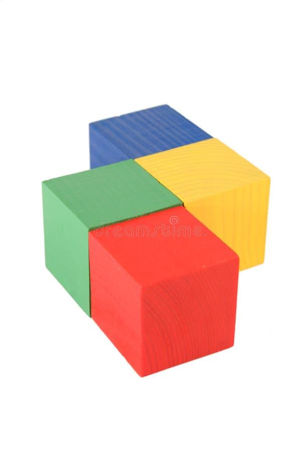 Cubos de madeira do brinquedo foto de stock